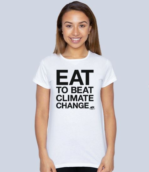 Eat to Beat Climate Change Top – black writing