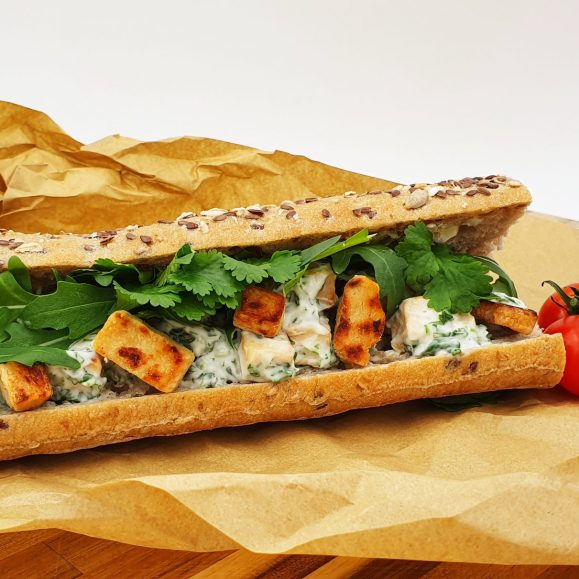 Vegan Quorn Seeded Baguette with Coriander Mayo