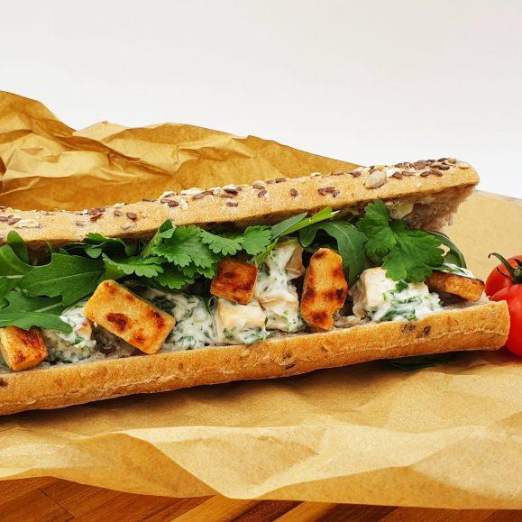 Vegan Quorn Seeded Baguette with Coriander Mayo