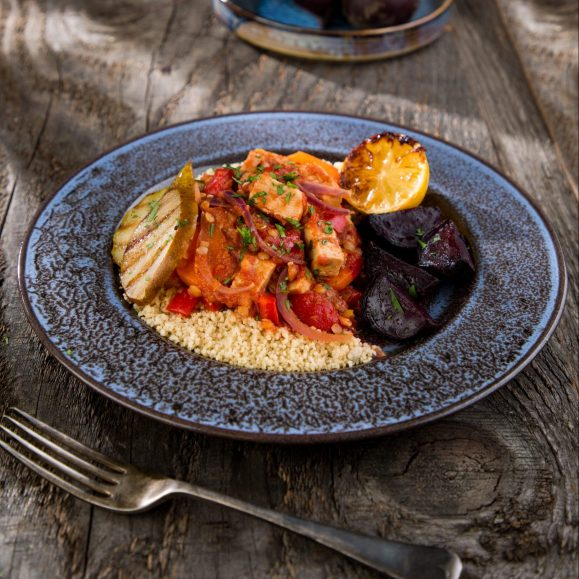 Baked Beetroot with Quorn and Lemon Tagine