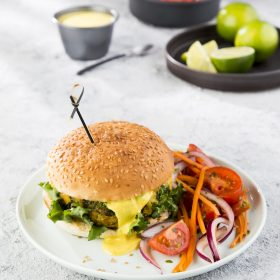 Broccoli and Chickpea Bhaji Burger with Indian Style Salsa and Raita