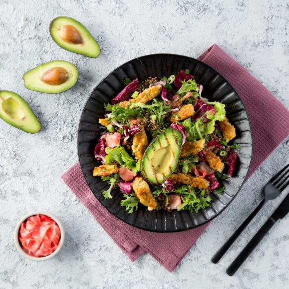 Griddled Avocado with Crispy Tempeh and Quinoa Leaf Salad
