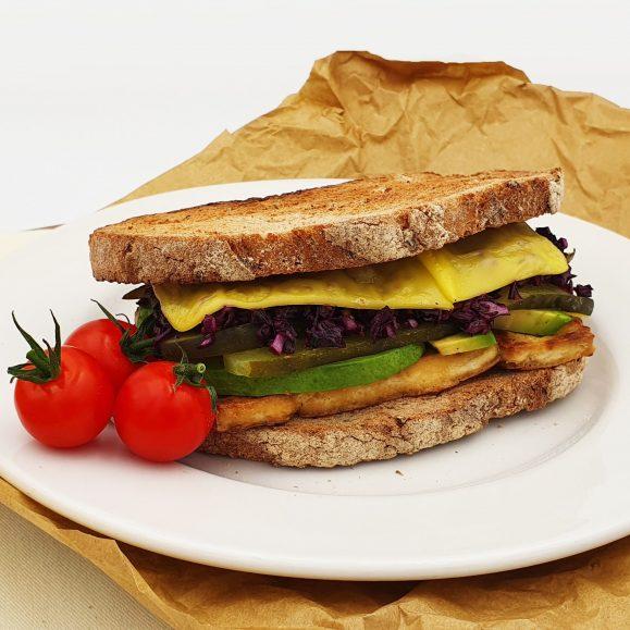 Grilled Tofu Reuben Sandwich on Rye Sourdough