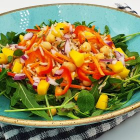 Chickpea Rocket and Rice Salad with Mango Dressing