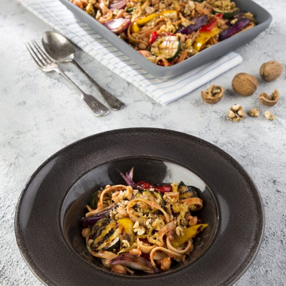 Wholewheat Tagliatelle Bake with Smoked Vegan Cheese
