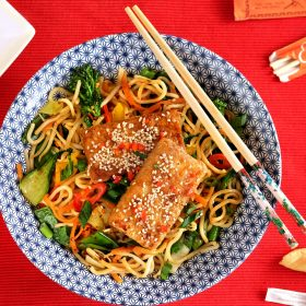 Crispy Sesame Tofu with Chinese Noodles