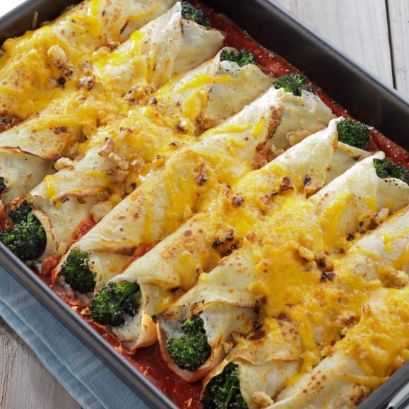 Pancake Cannelloni with Purple Sprouting Broccoli and Walnut Pesto