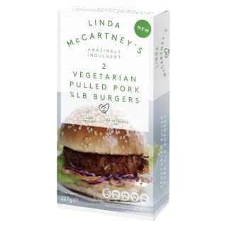 Linda McCartney 2 Vegetarian Pulled Pork 1/4lb Burgers Frozen 227g