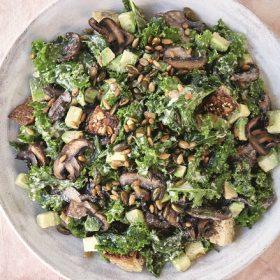 Creamy Kale and Mushroom Salad