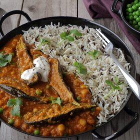 Baked Baby Aubergine with Spicy Lentil and Chickpea Curry