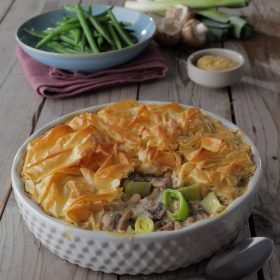 Filo Pie with a White Bean, Leek, Mushroom, Thyme and White Wine Sauce Filling