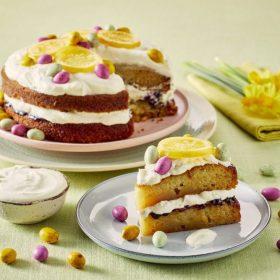 Easter Lemon Drizzle Inspired Cream Gateau with Mini-Eggs