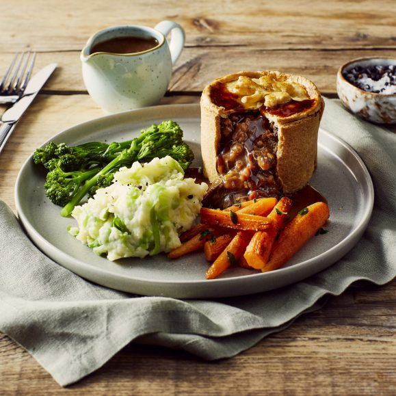 Guinness Pie with Colcannon, Thyme Roasted Carrots and Tenderstem Broccoli