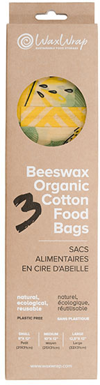 Waxed Cotton Food Bags – set of 3