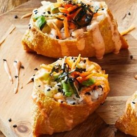 Inari – Tofu Pouches Stuffed with Carrot, Avocado and Rice